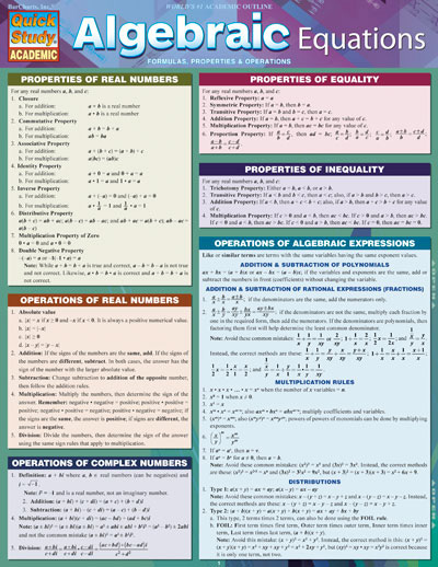 Image For Algebraic Equations Quickstudy