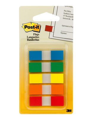Image For Post-It Flags Assorted Primary Colors