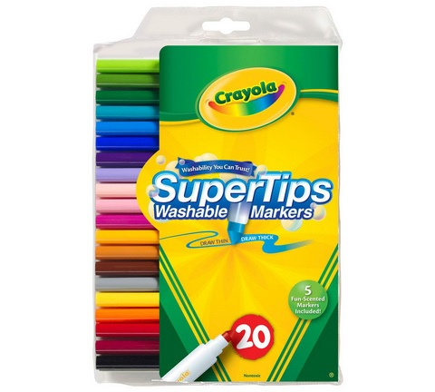 Image For Crayola Washable Super Tips Markers, Assorted, 20/Set