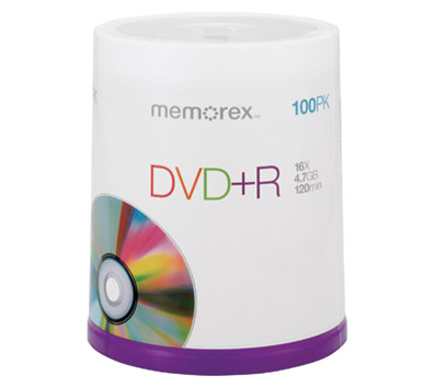 Image For Memorex DVD+R 100 Pack 32025621 (351)
