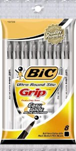 Image For Bic Round Stic Grip Pens 8pk