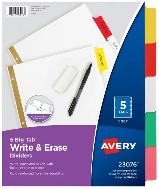 Image For Binder Index Dividers Write-On 5 Tabs